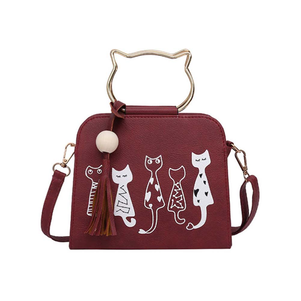 2017 Hot sale Cute Cartoon Cats Printed Shoulder Bags  Ladies Girls Small Crossbody Bags Women Scrub Leather Handbags Popular new woman shoulder bags cute canvas women big bags literature and art cartoon girls small fresh bags casual tote