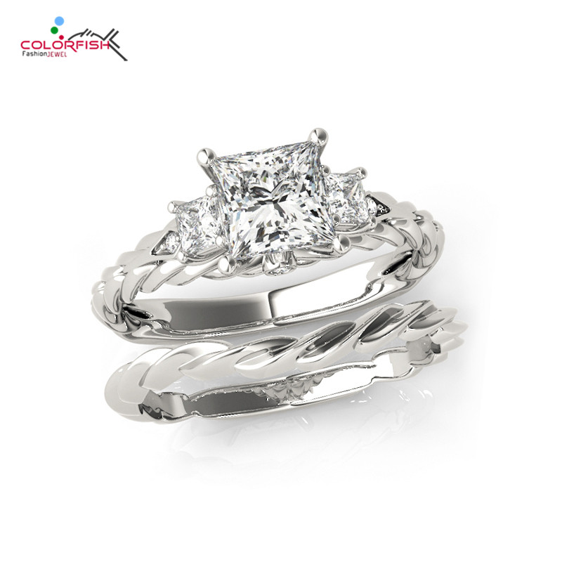 COLORFISH 1 Carat Princess Cut Three Stone Engagement Ring Set For Women 925 Sterling Silver Twist Shank Wedding Band Ring Sets