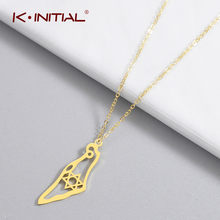 Kinitial New Asian Country Map Israel Pendant Necklace Jewish Jerusalem Hebrew Passover Holy land David Star Necklaces Souvenir(China)