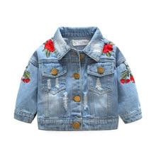Girl Clothes Baby Girls Denim Coats Vintage Jeans Jackets for Girl Toddler Denim Jackets Infant Jean Rose Flower Embroidery Girl