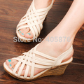 Fashion Women Shoes PU Leather Cross Wedges Gladiator Sandals Women High Heel Shoes