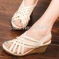 Mujeres de la manera Zapatos de Cuero de LA PU Cruz Cuñas Gladiador Sandalias Mujeres Zapatos de Tacón Alto