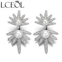 LCEOL Einzigartige Vogel Design Imitation Perle Ohrringe Silber Farbe CZ Multiple Wear Methoden Abnehmbarer Frauen Schmuck Brincos