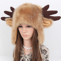 Free Shipping Autumn and winter thermal cartoon hat antlers fur hat lei feng plus velvet general deer hat