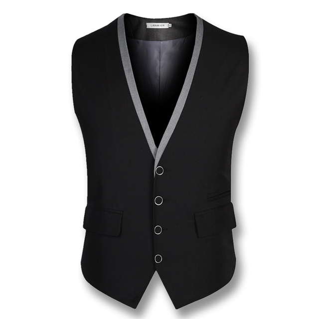 2016 Colete Masculino Business Men Dress Vests Blazers Jackets Men's Casual Fashion Slim Fit Sleeveless Suit Vests Wedding Vests