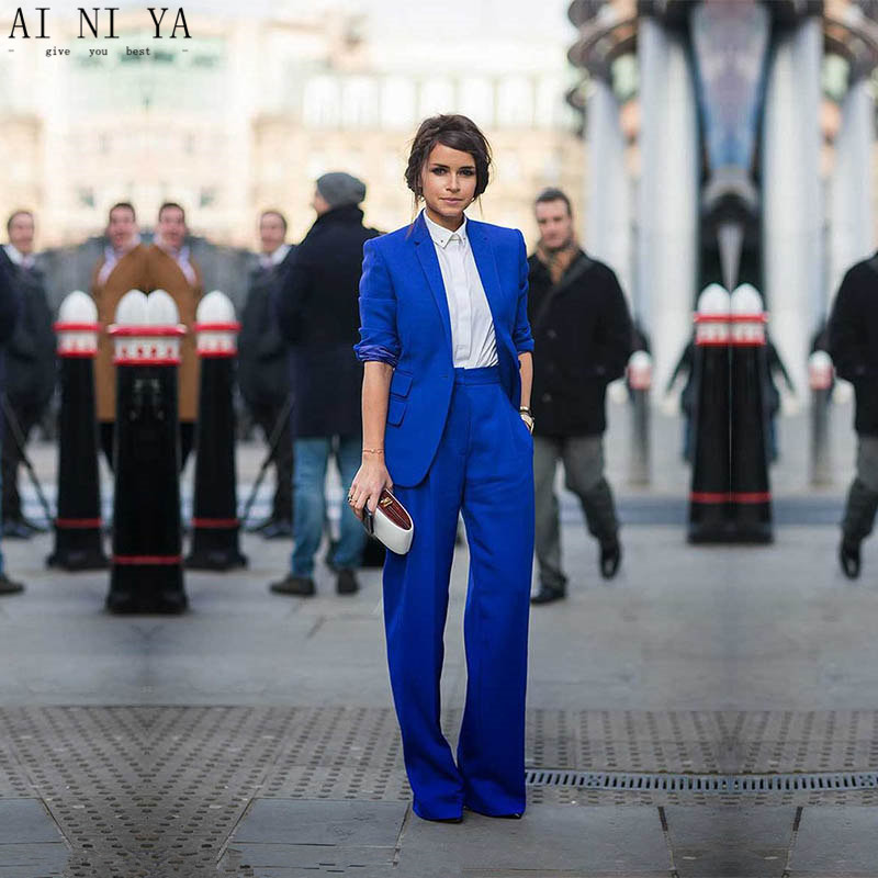 Persevering Women Pant Suits Casual Office Business Suits Formal Work Wear Royal Blue Elegant Pant Suits Summer Spring Custom Made