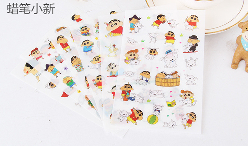 Anime Sticker Pack Children Toys  Cartoon Crayon Shin-Chan  DIY Book Diary Scrapbook Funny Stickers  6 Sheets/Bag Birthday Gifts