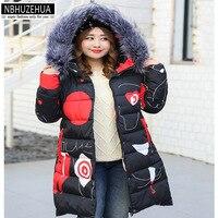 NBHUZEHUA 5XL 6XL 7XL 8XL Large Size Winter Jacket Women Printing Fur Collar Cotton Coat Thick