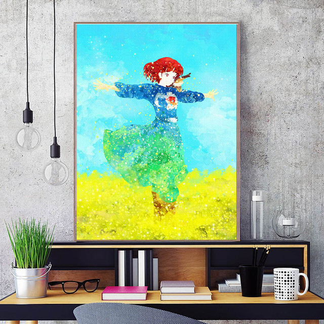 28e140a3 Hot New Original Watercolor Hayao Miyazaki Nausicaa Of The Valley Of Wind  Printing Girl Posters For