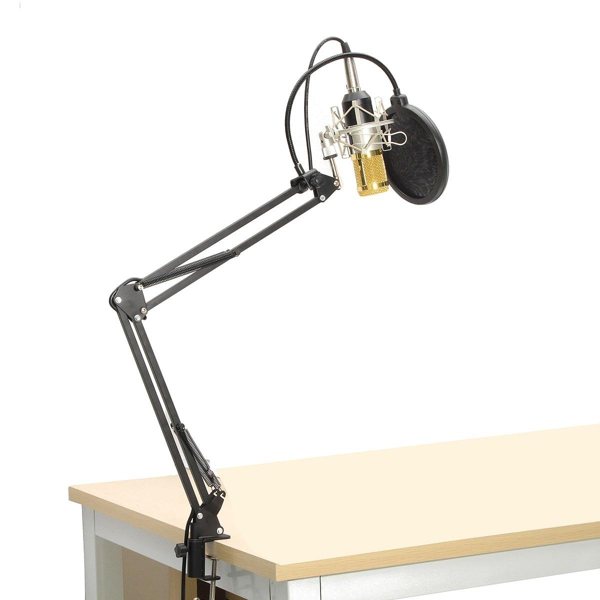 ФОТО BM-800 Condenser Microphone Professional Kit Set Broadcast Studio Recording Mic With Arm Boom Stand +Pop Filter+Sponge Foam