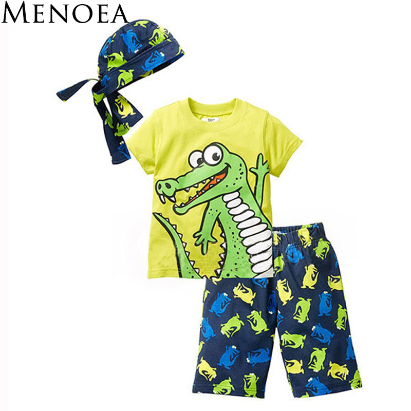 Children clothes 2018 summer beach style cartoon casual Kids sport suit 3 Pieces hat T shirt pants baby boys clothing set 2016 new summer baby sport suit 100