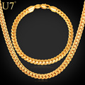 U7 Classic Necklace Set For Men Trendy Wholesale Yellow Gold Plated Snake Chain Necklace Bracelet African Jewelry Sets S374
