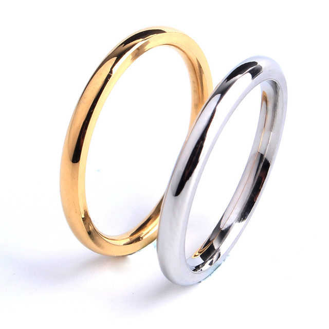 free shipping 2mm gold silver Smooth wedding rings for women 316L Stainless Stee