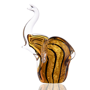 H&D Blown Glass Striped Elephant Figurine Handmade Wild Animal Statue Multicolor Creative Gift Craft Home Desktop Decoration