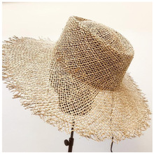 manual sisal burrs concave wide-brimmed straw hat female summer elegant  sun along the beach on vacation