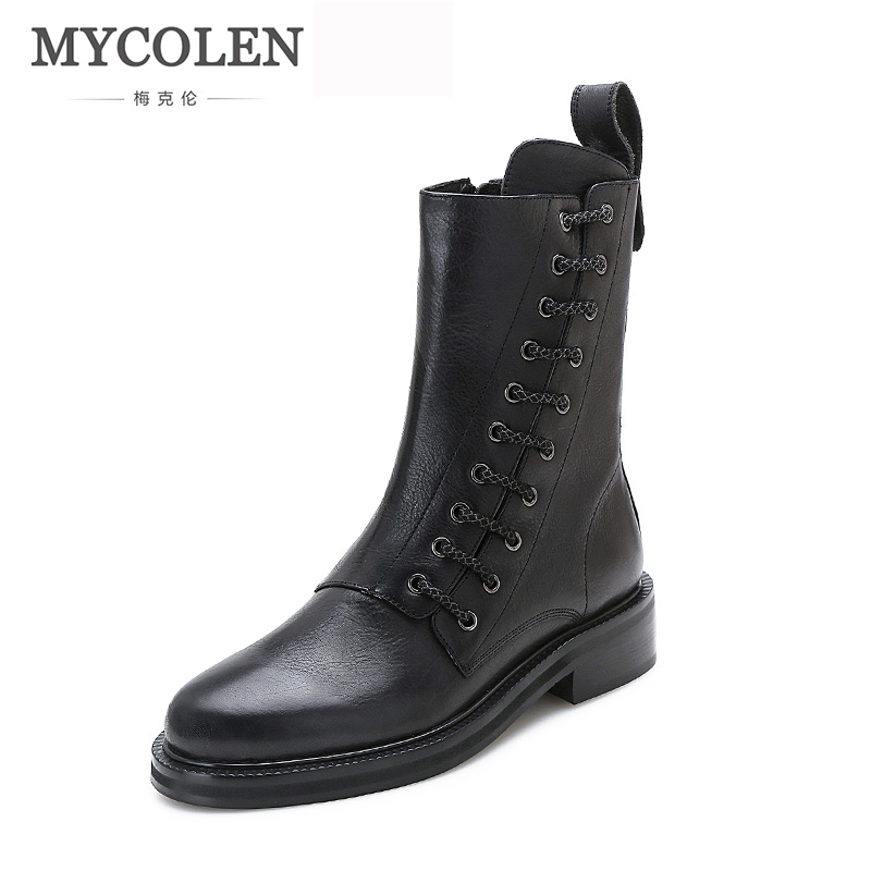 MYCOLEN 2018 New Boots Genuine Leather Snow Boots Luxury Fashion Women High Quality Flat Shoes Women Shoes Spring Autumn asds 2017 new fashion high quality vintage women flat shoes women flats and women s spring summer autumn shoes