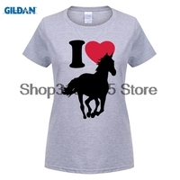 GILDAN Women Fashion Brand T Shirt 2015 New 100 Cotton I Love Horses Women S T