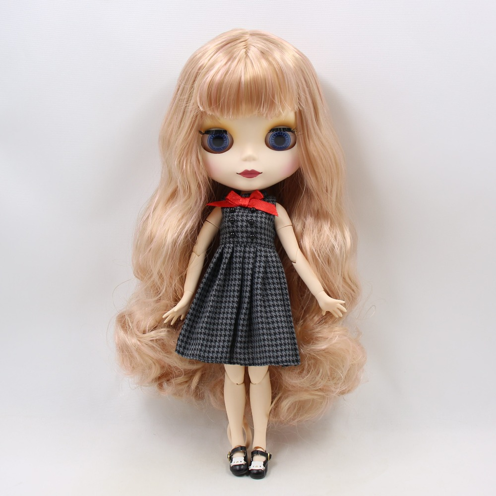 Blyth 1/6 Joint body with Long Wavy Pink Hair White Skin