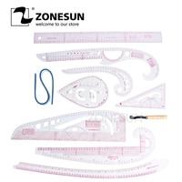 ZONESUN завинчивающиеся измерительные инструменты  одежда  дизайн  угловая линейка  9 шт.  линейка  1 шт.  инструмент  бесплатная доставка
