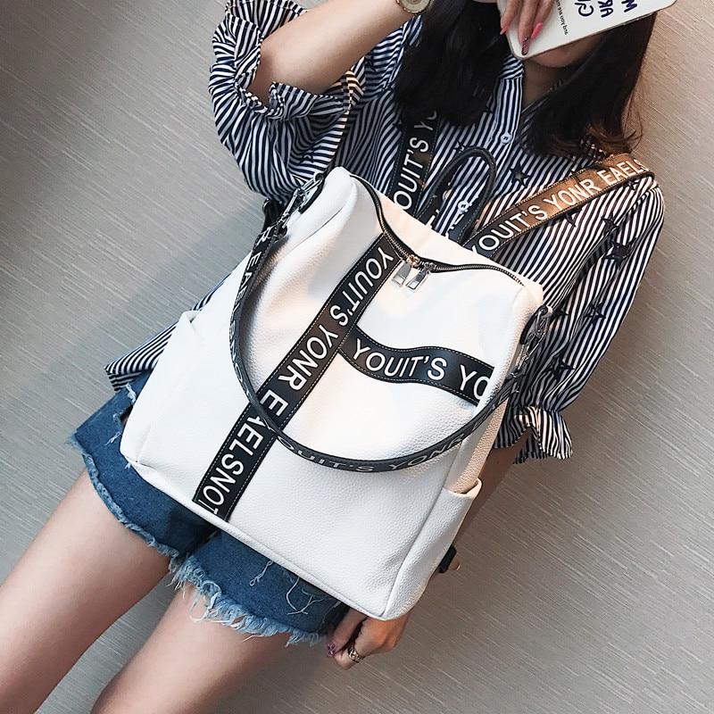 Women Korean Style Fashion Joker Letter PU Backpack New Student Pure Color School Bag Dual Leisure