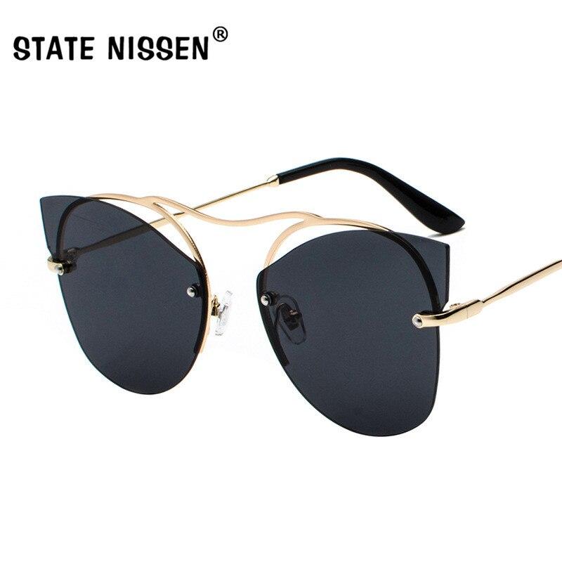 737c3e7ac8 STATE NISSEN Retro Cat Eye Womens Sunglasses Brand Designer Hollow Out  Rimless Frame Sun Glasses For