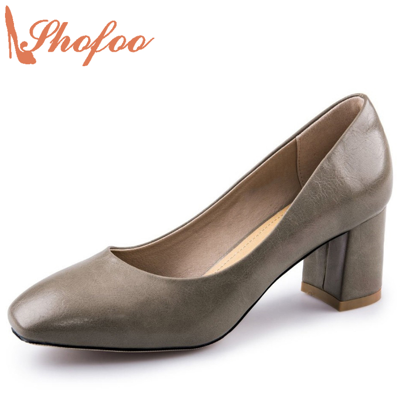 Shofoo Women Black Grey Shoes Round Toe High Heels Pleather Pumps Dress Office Evening Woman Slipper Plus Size 4-16  shofoo newest women shoes med heels pointed toe pumps for woman dress