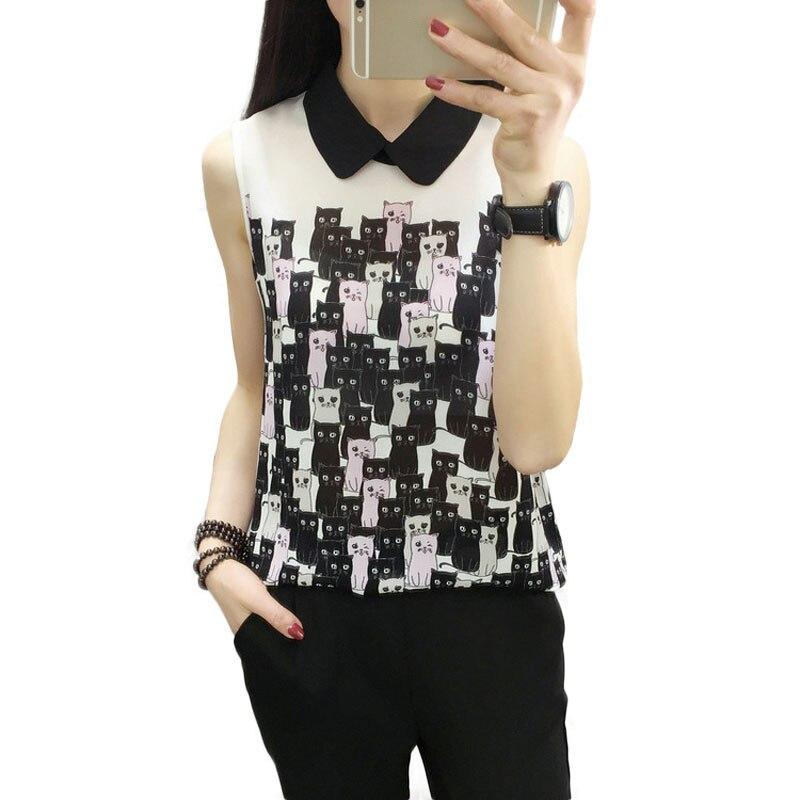 New <font><b>Animal</b></font> <font><b>Print</b></font> Shirts Blouses <font><b>Chiffon</b></font> Sleeveless Women <font><b>Tops</b></font> 2018 Summer Cute Cat Printing Women's Blouses and <font><b>Tops</b></font>