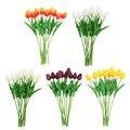 10 PCS Artificial Tulip Flores de Couro PU Tulipa Buquê de Flores para Decoração de Casa Casamento 5 Opções de Cores