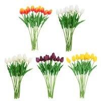 2e114e4421a0 10 unids artificial Tulip flores boda decoración pu tulipán ramo de flores  para la decoración del