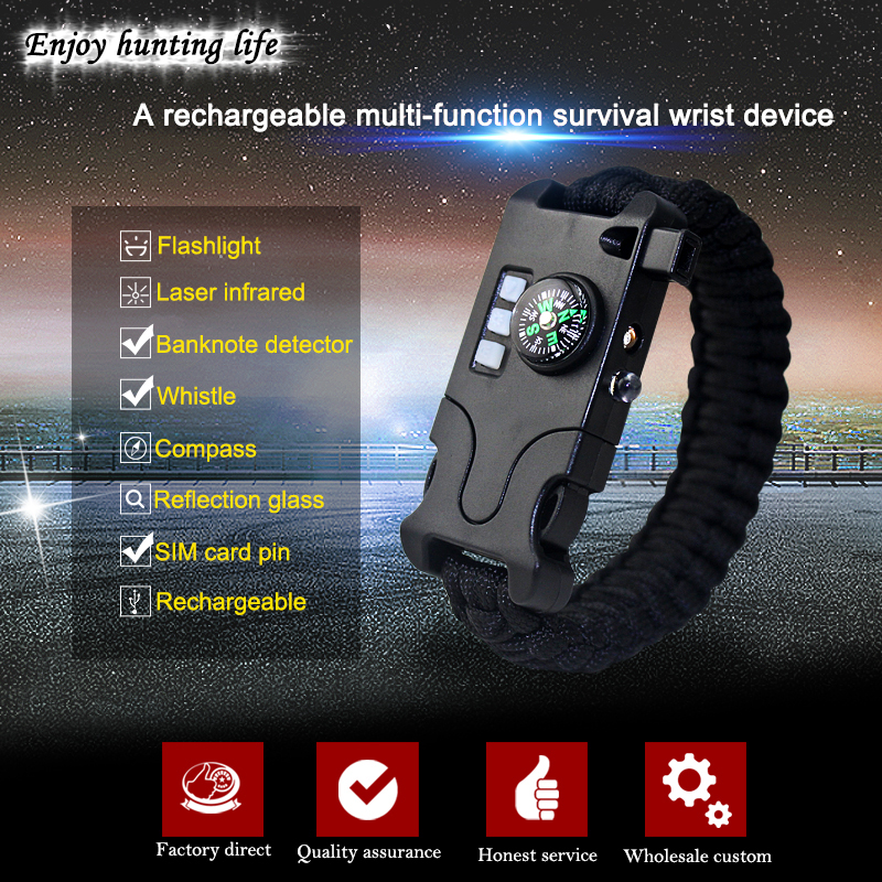 7 in 1 Paracord Überleben Armband Multifunktionale Laser ...