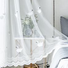 Traditional Chinese Swan crown embroidered Tulle  half-window balcony partition finished product customized processing curtain