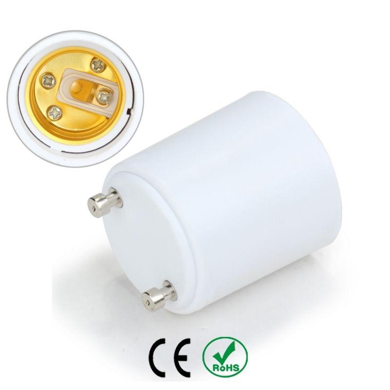50pcs gu24 to e27 lamp holder base bulb socket adapter fireproof material halogen edison led light - Gu24 Led