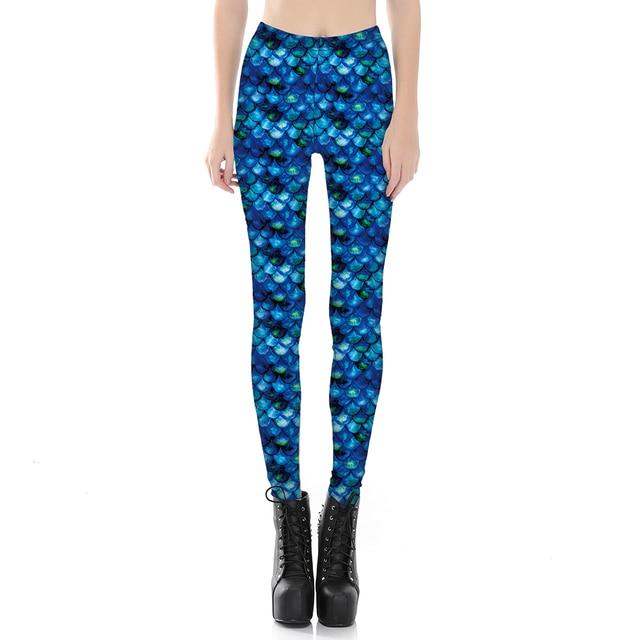 New Blue Color Leggings Galaxy Mermaid Painted Women Jegging Pants Las Elastic Jeggings