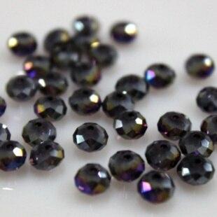 Isywaka разноцветные 4*6 мм 50 шт Австрийские граненые стеклянные бусины Rondelle, круглые бусины для изготовления ювелирных изделий - Цвет: Purple AB