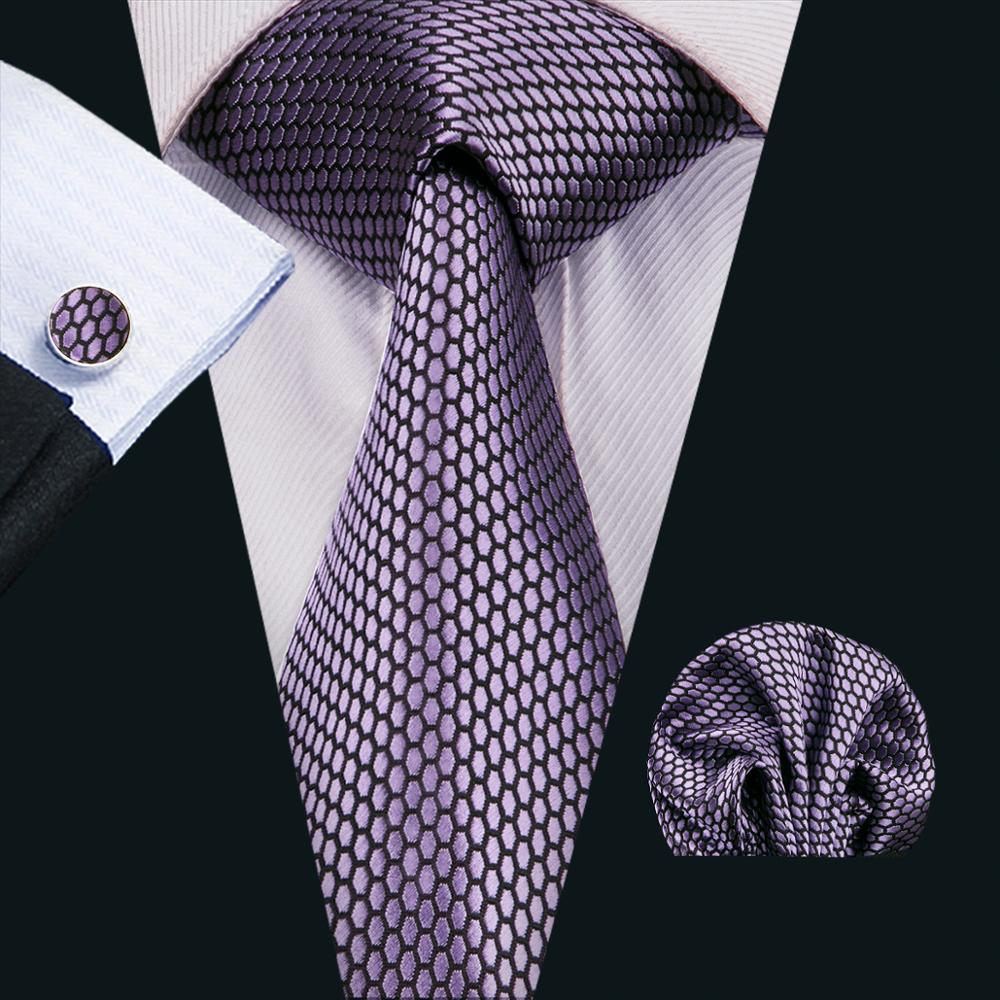 FA-1553 New Arrive Fashion Ties For Men Purple Geometric Jacquard Woven Necktie Hanky Cufflinks For Wedding Party Freeshipping