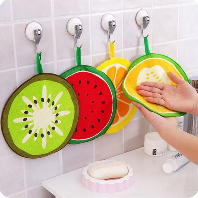 Fruit Print Kitchen Hanging Round Hand Towel Microfiber Towels Quick Dry Cleaning Rag Dish Cloth Wiping Napkin Toallas