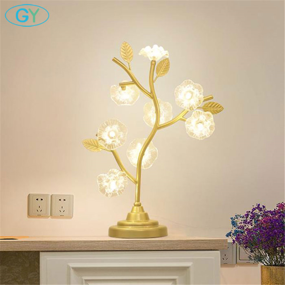 Aliexpress.com : Buy Modern black gold led desk lamps crystal flower ...
