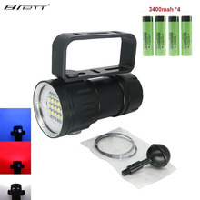 LED Diving Flashlight Uses 6 XHP70 /90 Lamp Beads Highlight  20000Lumens Photography Video Light With Blue+White + Red