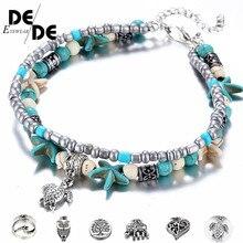 Bracelet Beach Women Foot Jewelry Bohemian Resin Crystal Beads Natural Shell Conch Starfish Pendant Ankle Bracelet.