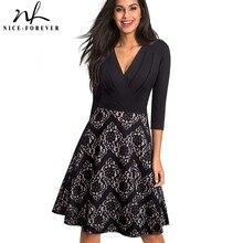 素敵な永遠のヴィンテージ刺繍フラワーレース vestidos セクシーなフリルディープ v ネック a ラインピンナップビジネス女性フレアドレス A074