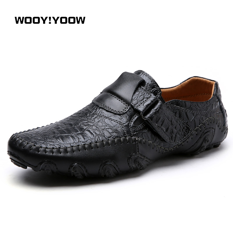 WOOY!YOOW 2018 New Classic Standard Mens Leather Shoes Good Match Mens Casual Shoes Buckle Loafers Fashion Trend Peas Shoes