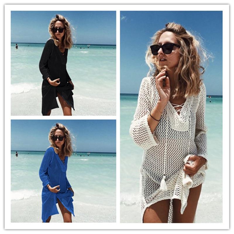все цены на Beach Cover Up Swimsuit Cover Up Tunics For Beach Pareos For Women 2018 Knitting Hollow Saida De Praia Pareo Wear Summer Dress онлайн