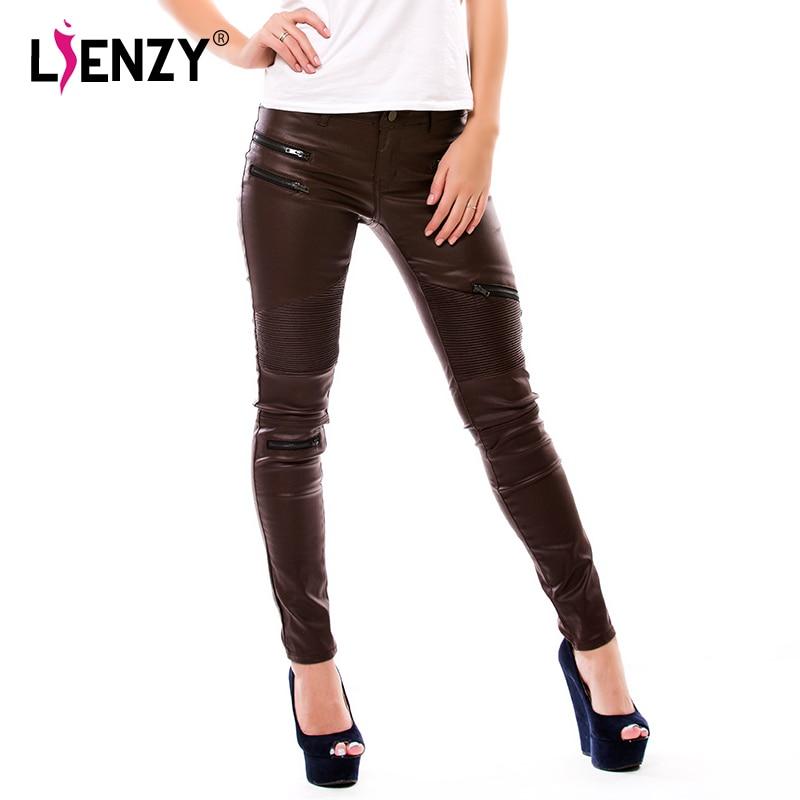 LIENZY American Apparel Sexy Women PU Leather Pants Coffee Color Multi-Zipper Motorcycle PU Women Pencil Trousers 2XL