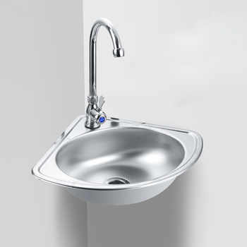 Stainless steel triangle wash basin thick small sink corner wall-mounted single tank bathroom corner sink mx4101030 - DISCOUNT ITEM  16% OFF All Category