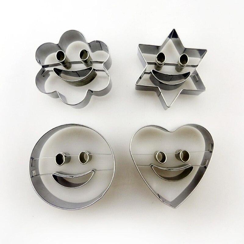 4 Piezas Nuevo Molde De Gelatina De Pastel De Alta Calidad Sonrisa Emoji Cocina Gadget Acero Inoxidable Duradero Fácil De Limpiar Accesorios Para Hornear Fortalecimiento De Los Tendones Y Los Huesos