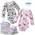 Bodysuits do bebê Recém-nascido Corpo Do Bebê Do Algodão de Manga Longa Roupas Íntimas Infantis Meninos Meninas Pijamas Roupas 5 pcs # 130ssy