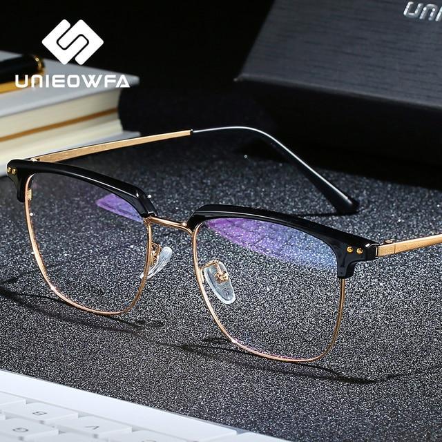 Unieowfa Semi Randloze Retro Optische Brilmontuur Mannen Clear Bijziendheid Bril Frame Koreaanse Vintage Prescription Brillen Frame