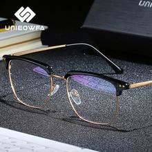 Unieowfa半リムレスレトロな光学ガラスフレーム男性クリア近視眼鏡フレーム韓国ヴィンテージ処方眼鏡フレーム