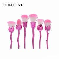 CHILEELOVE 6 Adet Gül Şekli Makyaj Fırça Pro Kozmetik Aracı Için Kadınlar Kız Tozu Alev Allık Yüz Çok fonksiyonlu fırçalar Kiti