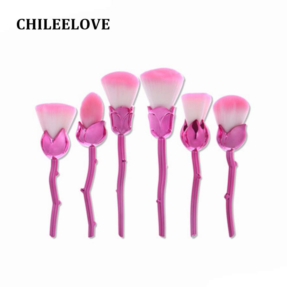 CHILEELOVE 6 Pcs Rose Shape Makeup Brush Pro Cosmetic Tool For Women Girl Powder Flame Blush Face Multi-function Brushes Kit